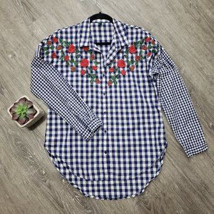 United Colors of Benetton Gingham Check Rose Shirt